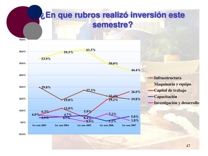 ¿En que rubros realizó inversión este semestre?
