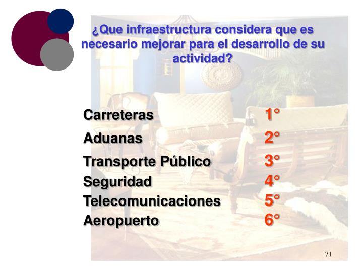 ¿Que infraestructura considera que es necesario mejorar para el desarrollo de su actividad?