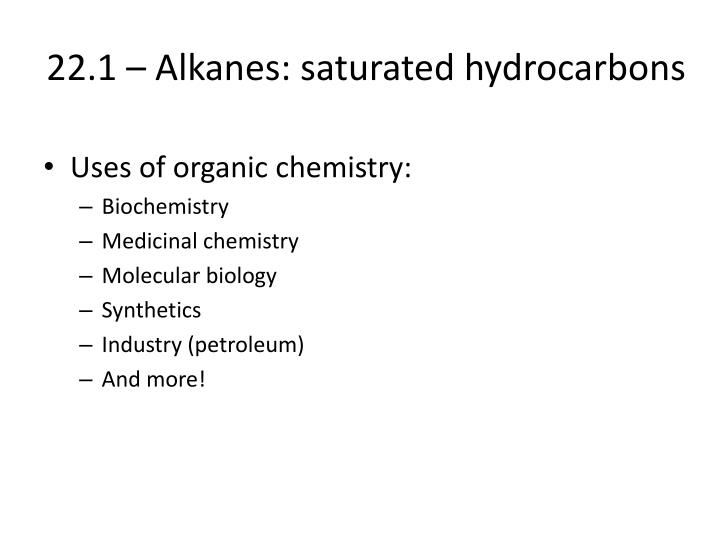 22 1 alkanes saturated hydrocarbons