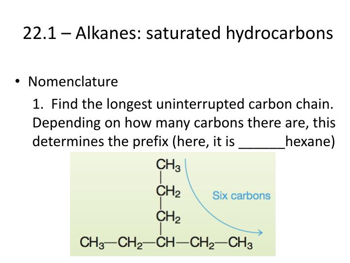 22.1 – Alkanes: saturated hydrocarbons