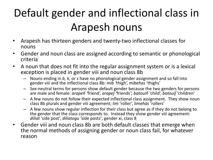 Default gender and inflectional class