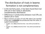 the distribution of rivals in lexeme formation is not complementary