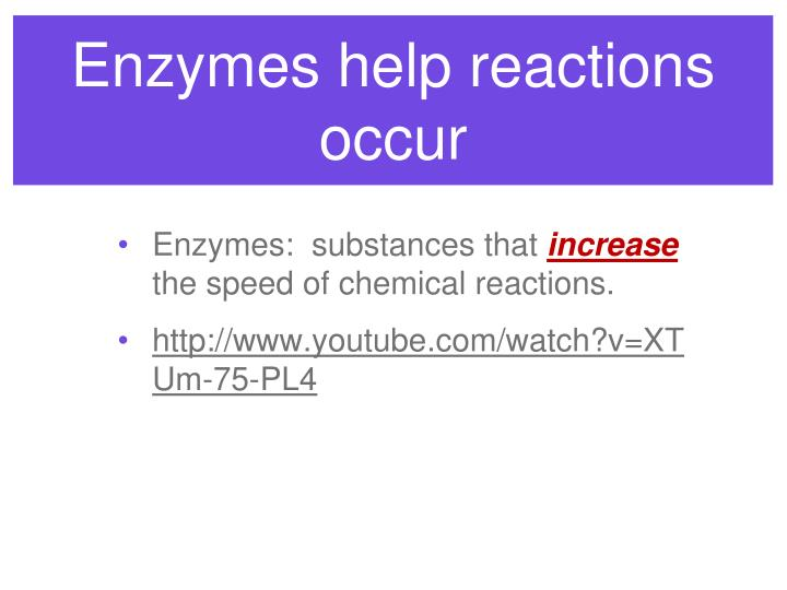 Enzymes help reactions occur