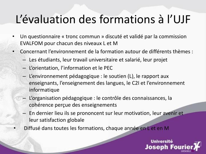 L valuation des formations l ujf
