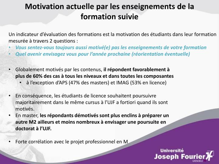 Motivation actuelle par les enseignements de la formation suivie