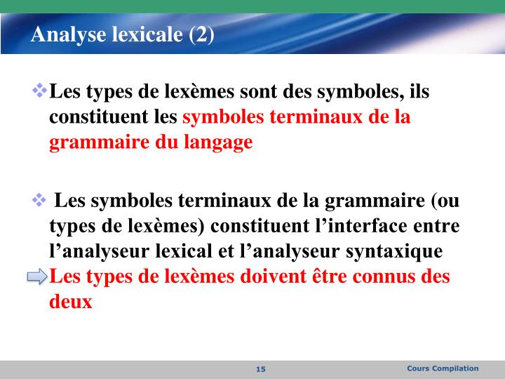Analyse lexicale (2)