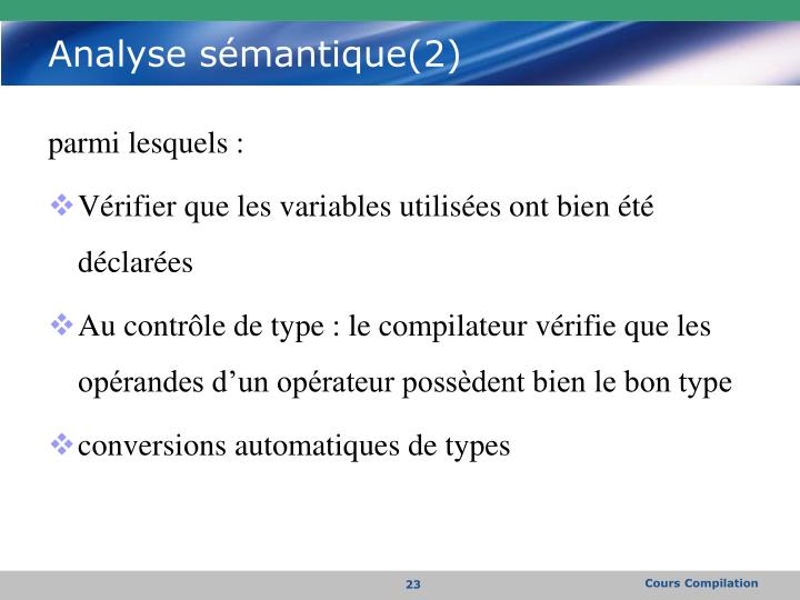 Analyse sémantique(2)