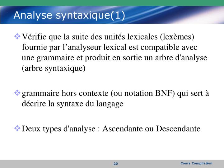 Analyse syntaxique(1)