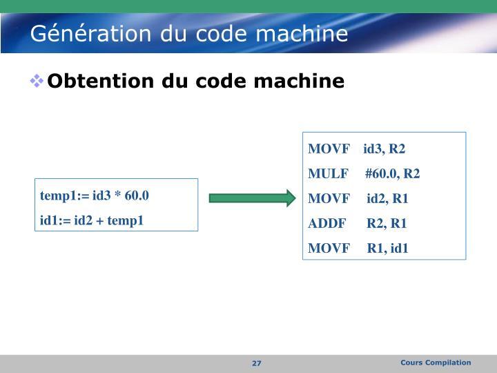 Génération du code machine