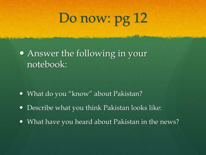 Do now: pg 12