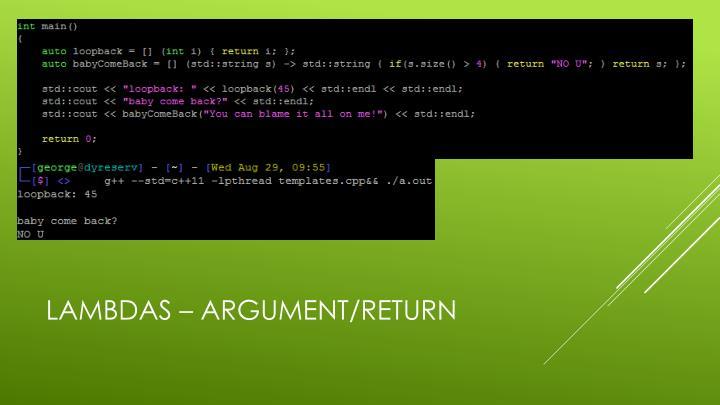 Lambdas – Argument/Return