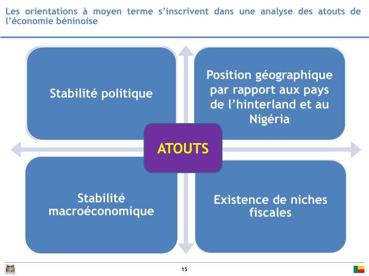 Les orientations à moyen terme s'inscrivent dans une analyse des atouts de l'économie béninoise