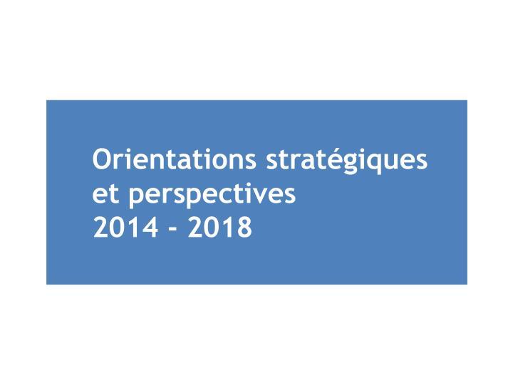 Orientations stratégiques et perspectives