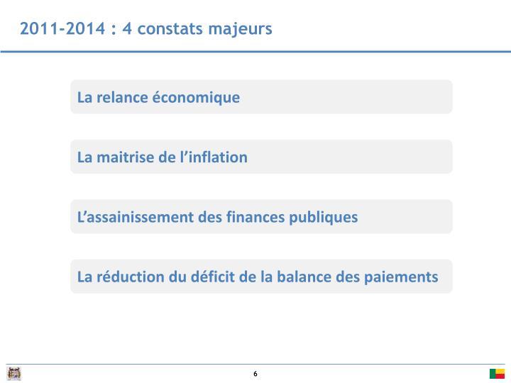 2011-2014 : 4 constats majeurs