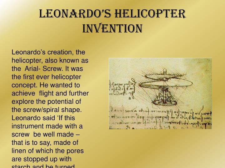 Leonardo's Helicopter invention