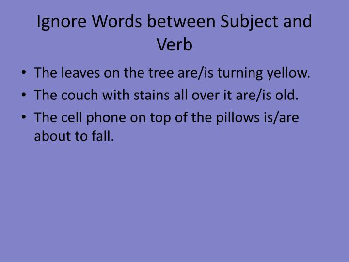 Ignore Words between Subject and Verb