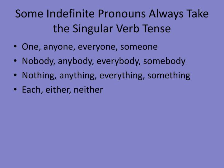 Some Indefinite Pronouns Always Take the Singular Verb Tense