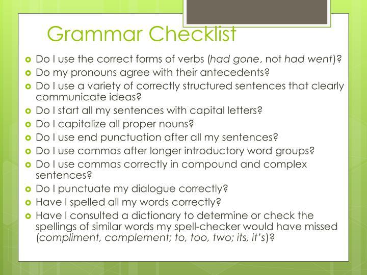 Grammar Checklist