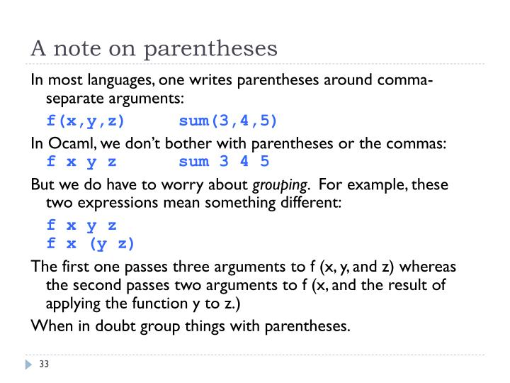 A note on parentheses