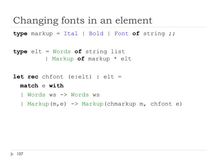 Changing fonts in an element