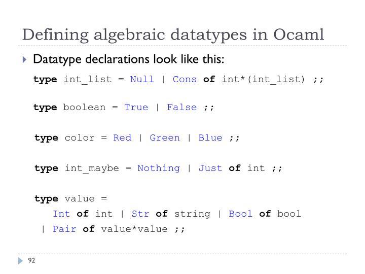Defining algebraic