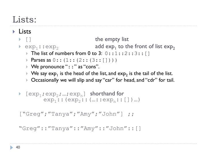Lists: