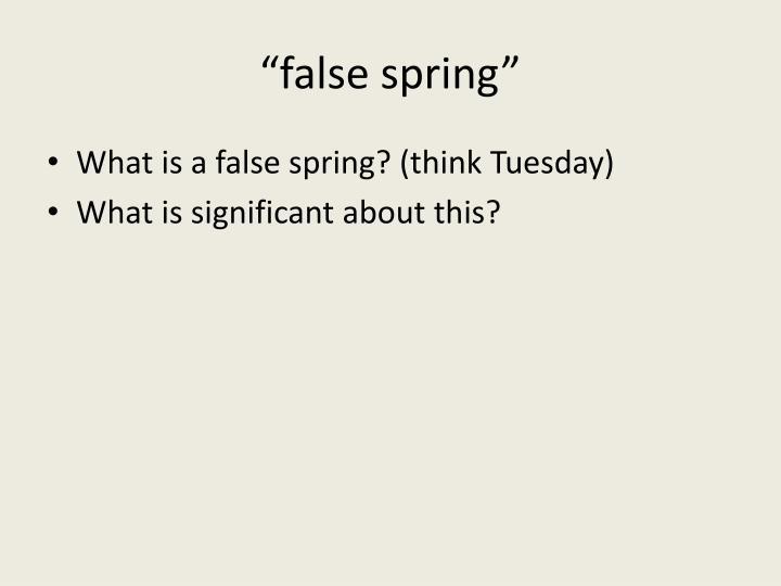 """""""false spring"""""""