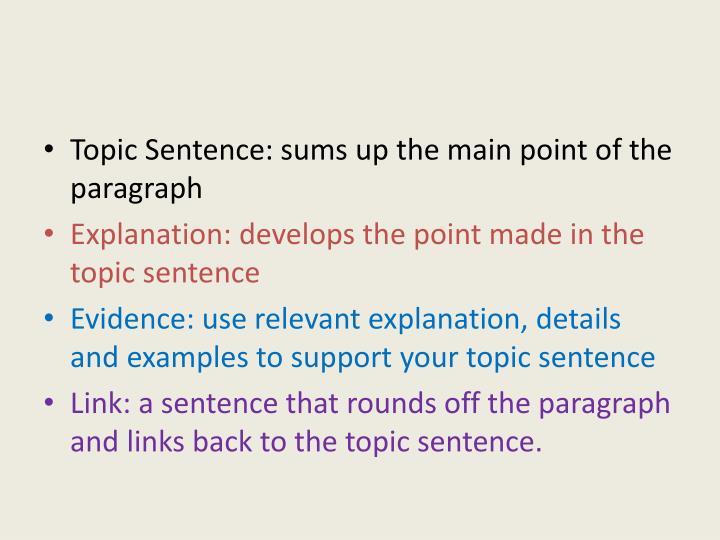 Topic Sentence: