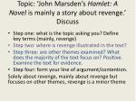 topic john marsden s hamlet a novel is mainly a story about revenge discuss