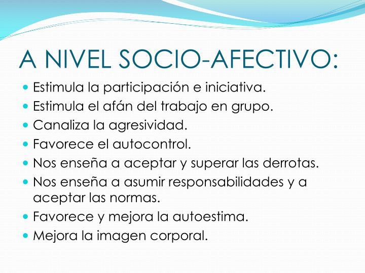 A NIVEL SOCIO-AFECTIVO: