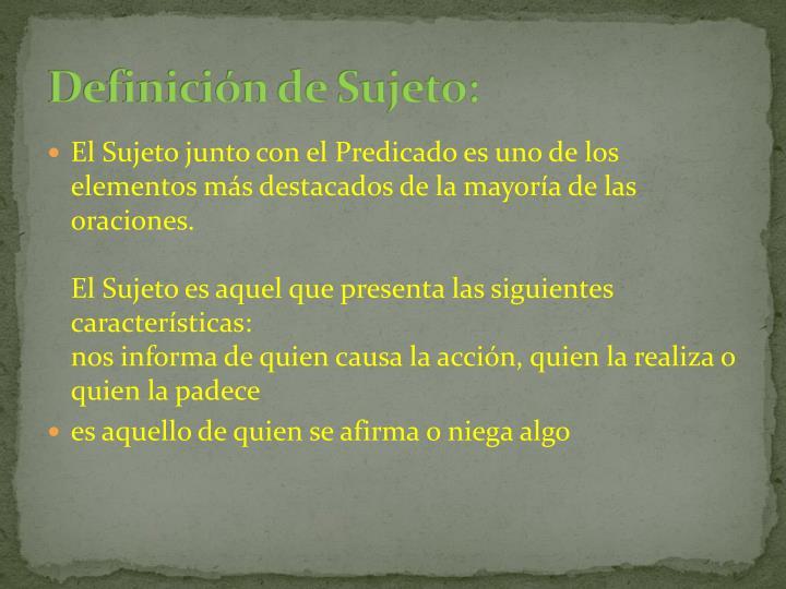 Definición de Sujeto: