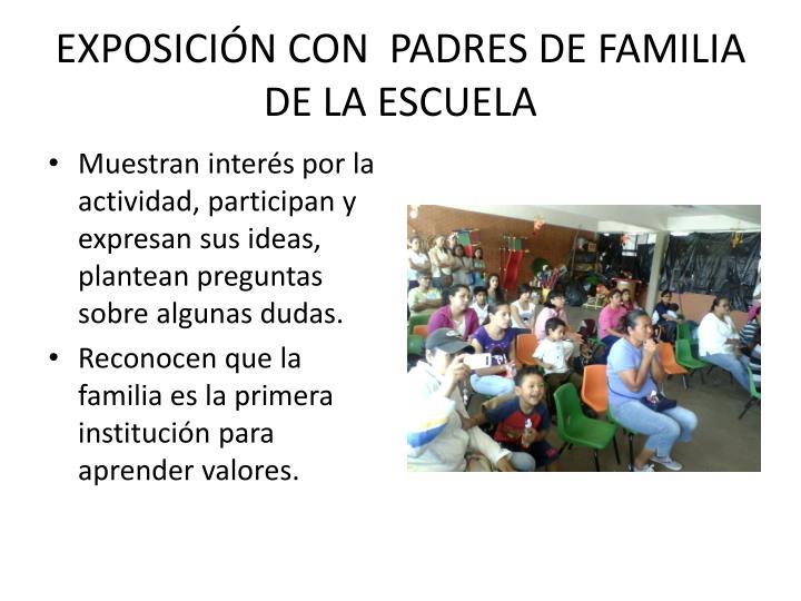 EXPOSICIÓN CON  PADRES DE FAMILIA DE LA ESCUELA