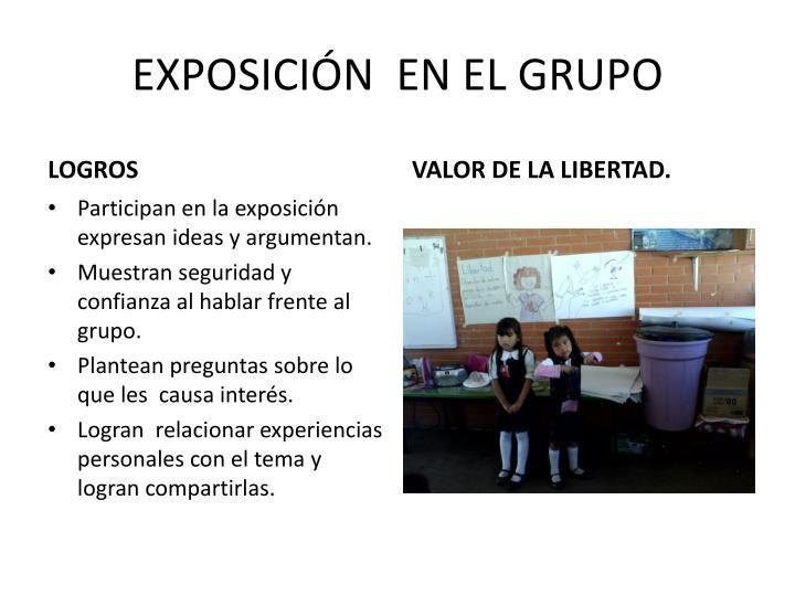 EXPOSICIÓN  EN EL GRUPO