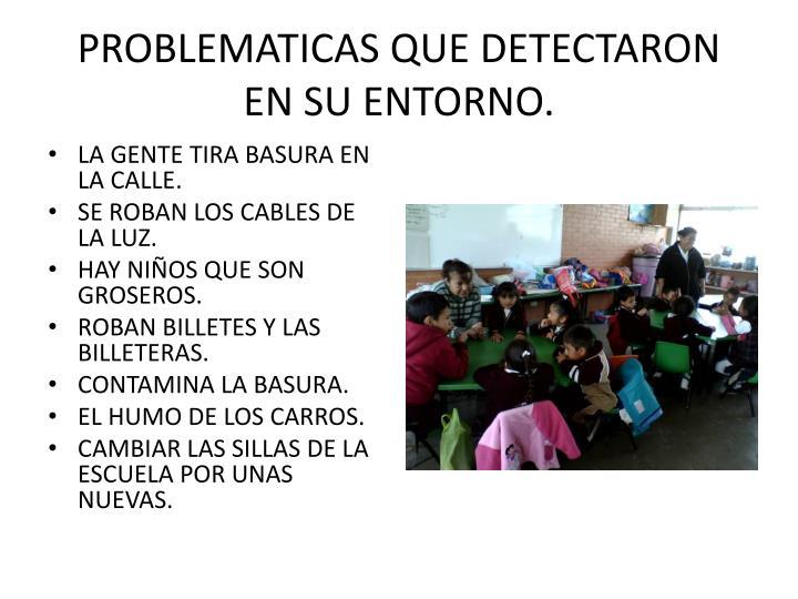 PROBLEMATICAS QUE DETECTARON EN SU ENTORNO.