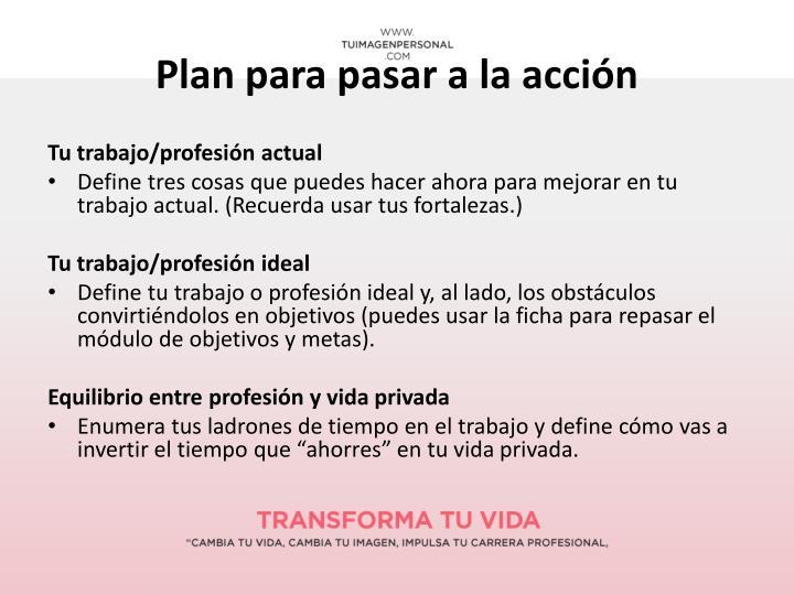 Plan para pasar a la acción