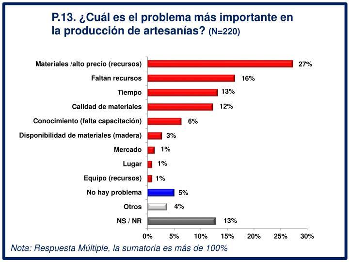 P.13. Cul es el problema ms importante en la produccin de artesanas?