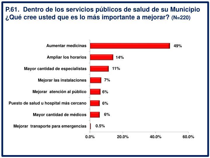 P.61.  Dentro de los servicios pblicos de salud de su Municipio Qu cree usted que es lo ms importante a mejorar?