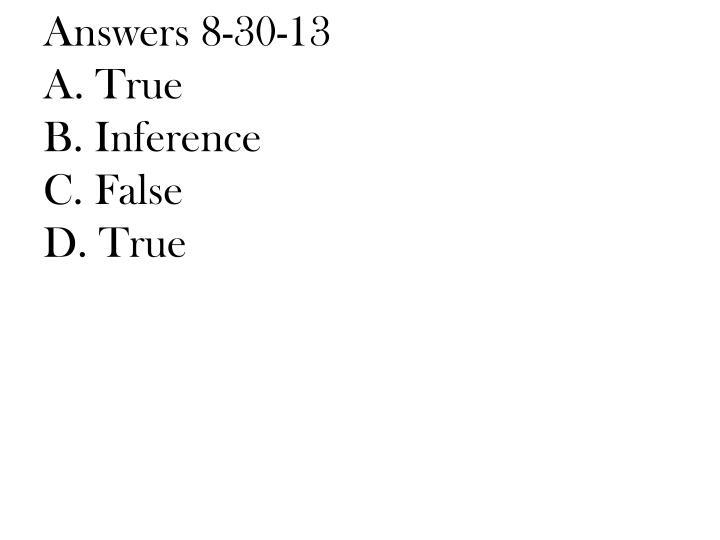Answers 8-30-13