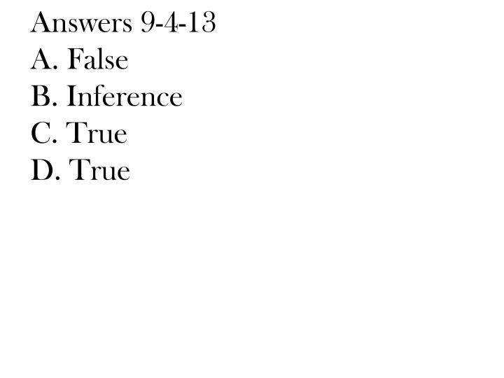 Answers 9-4-13