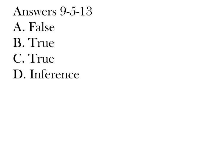 Answers 9-5-13