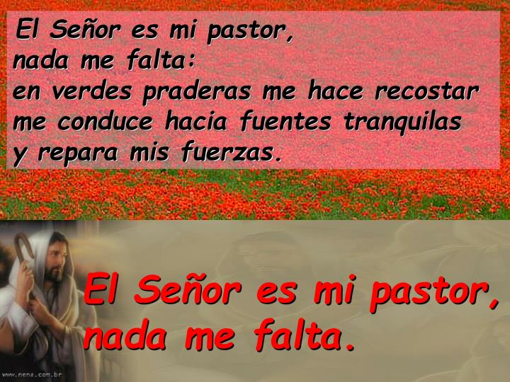 El Señor es mi pastor,                       nada me falta:
