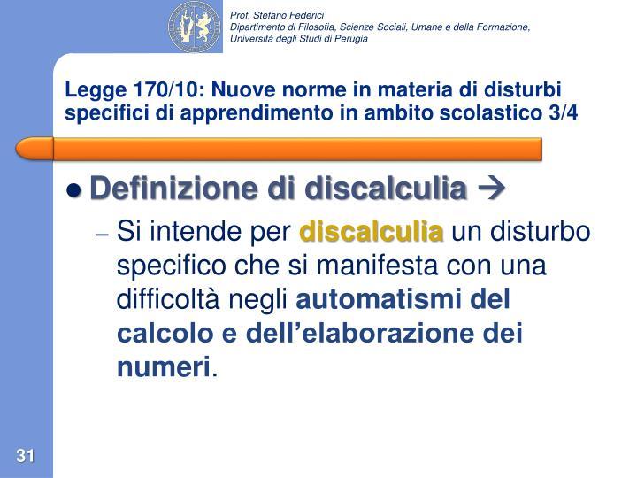 Legge 170/10: Nuove norme in materia di disturbi specifici di apprendimento in ambito