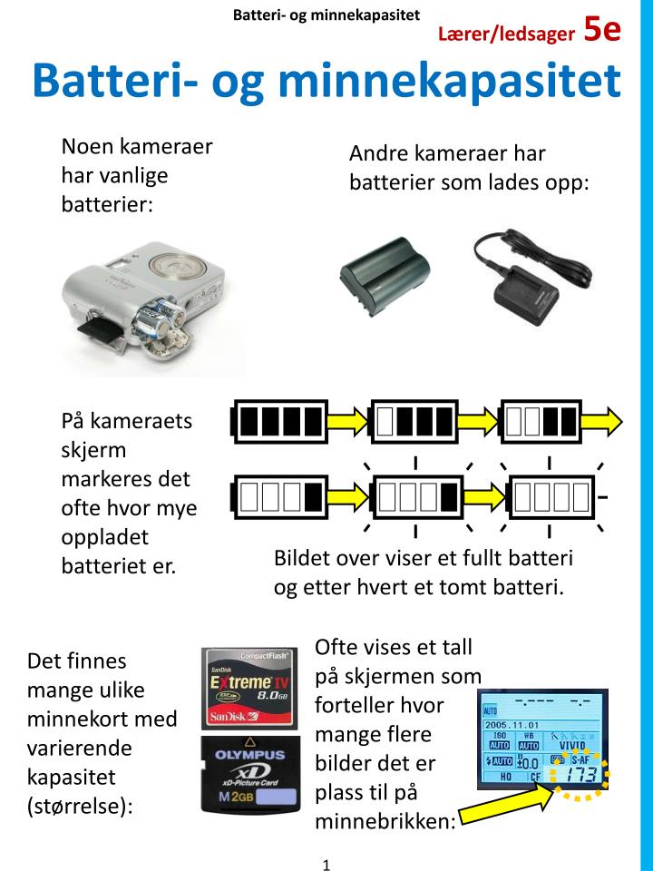 Batteri og minnekapasitet