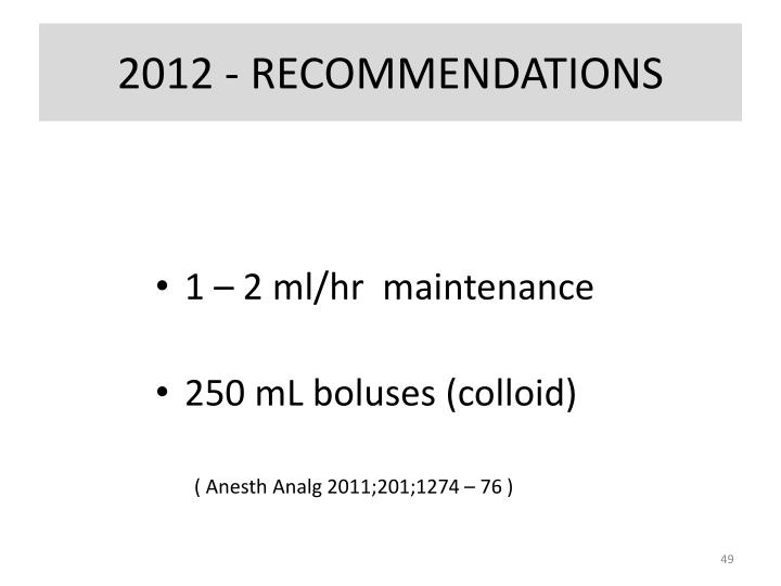 2012 - RECOMMENDATIONS