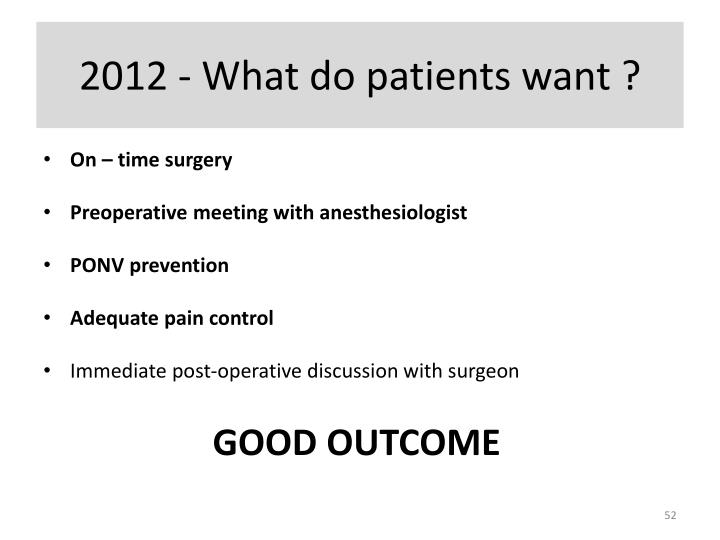 2012 - What do patients want ?