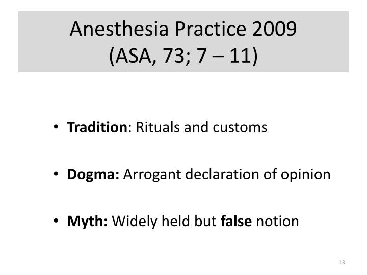 Anesthesia Practice 2009