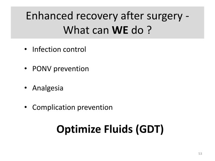 Enhanced recovery after surgery - What can