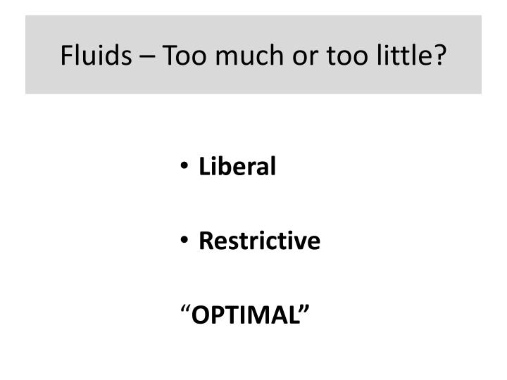 Fluids – Too much or too little?