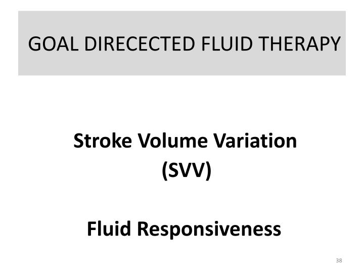 GOAL DIRECECTED FLUID THERAPY