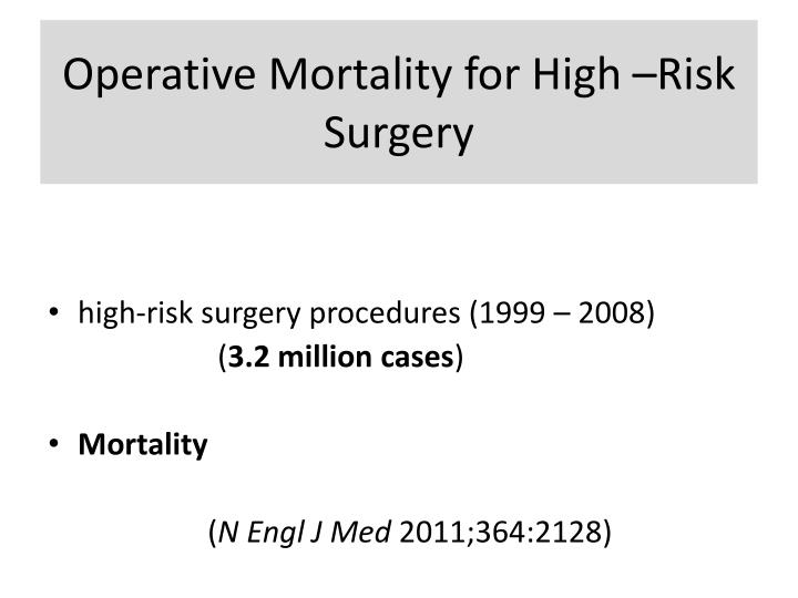 Operative Mortality for High –Risk Surgery